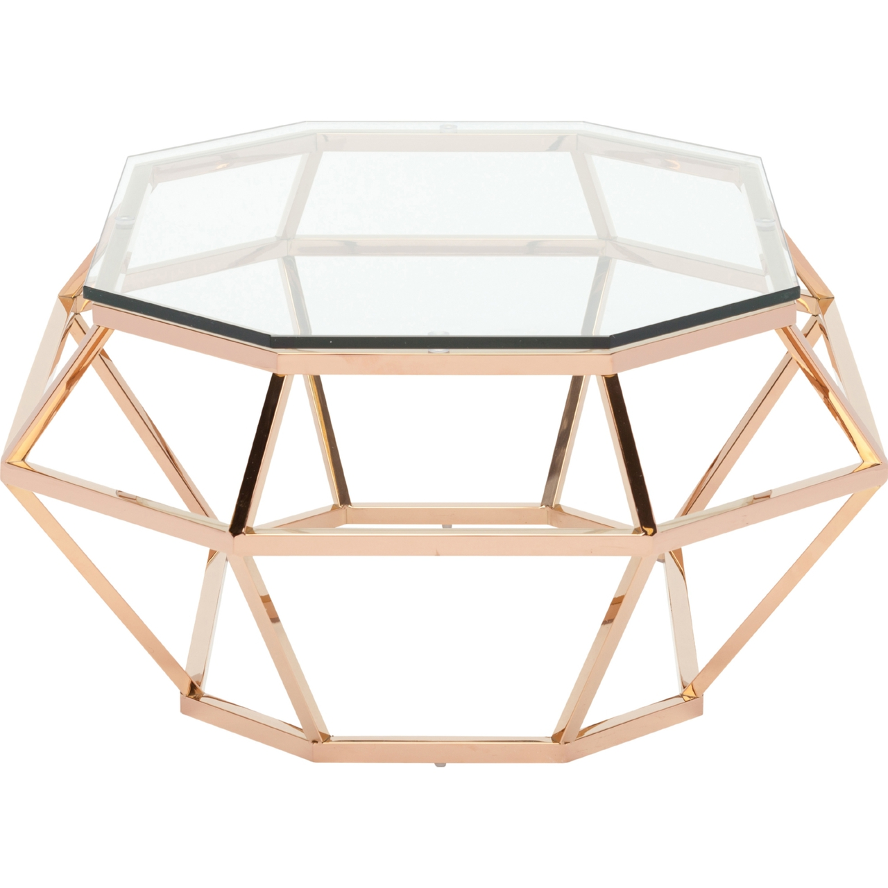 Rose Gold Glass Coffee Table