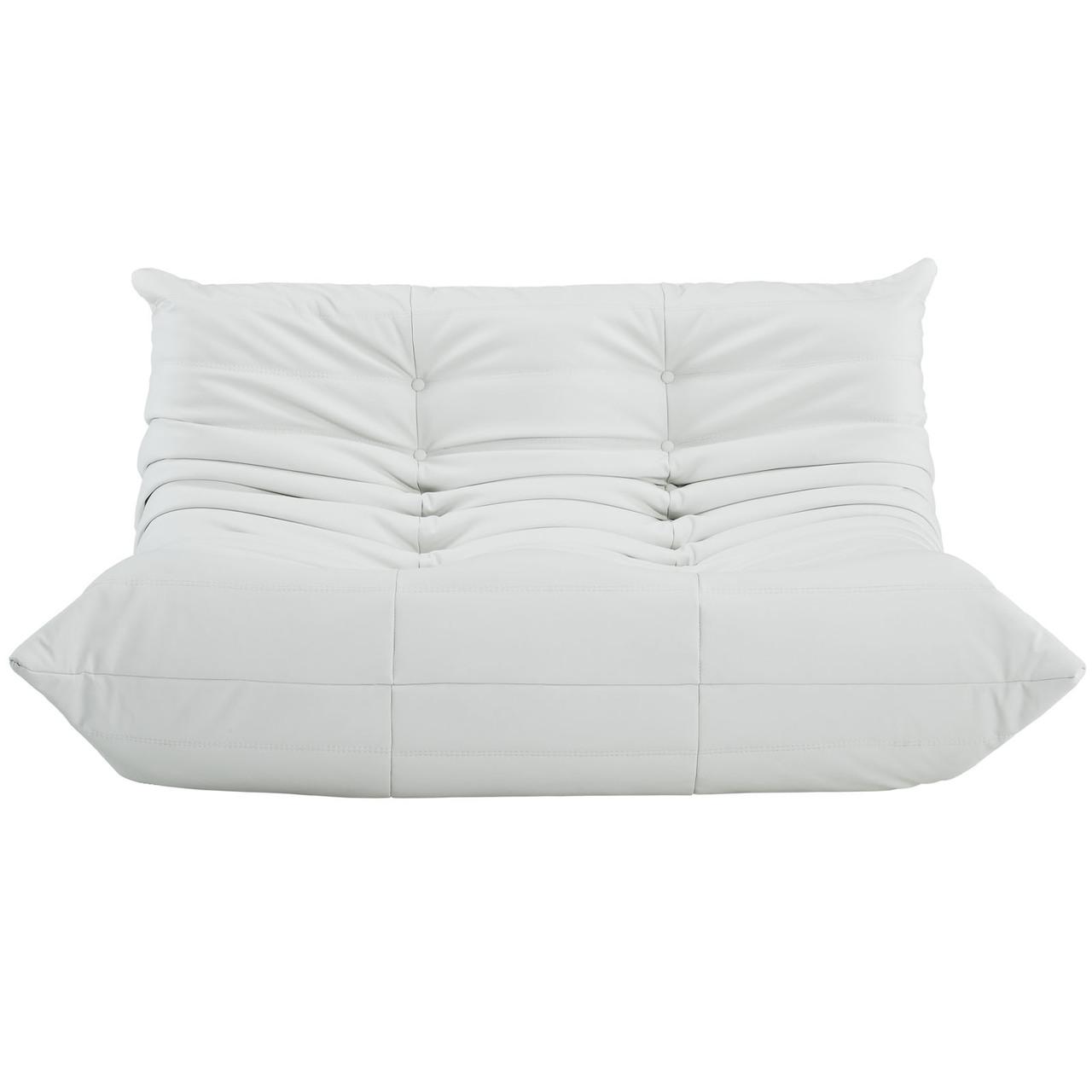 Downlow Loveseat White Leather Advanced Interior Designs