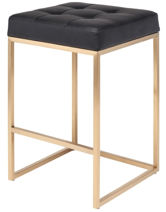 Chi Counter Stool Black With Brushed Gold Frame. ...