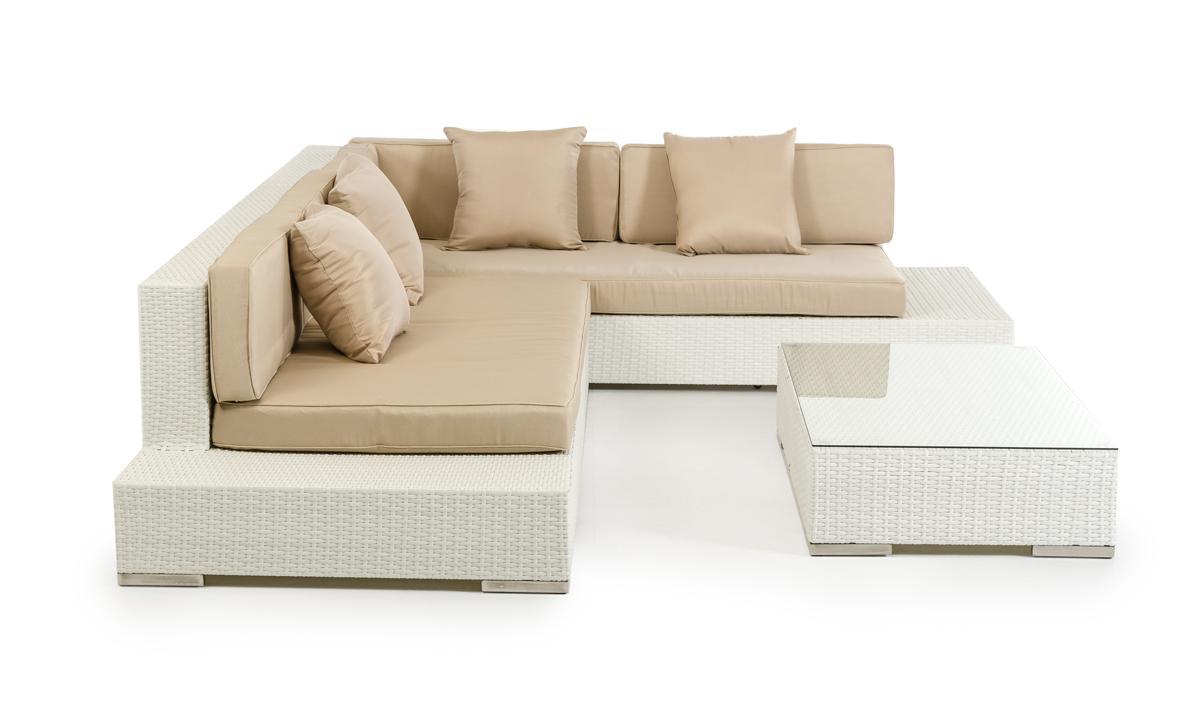 Corona Modern Patio White Sectional Sofa Set Outdoor