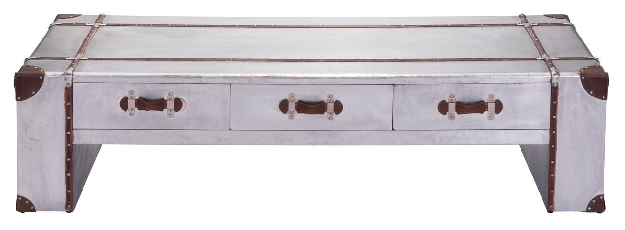 Zuo kant wide aluminum coffee table advanced interior for Coffee tables 50cm wide
