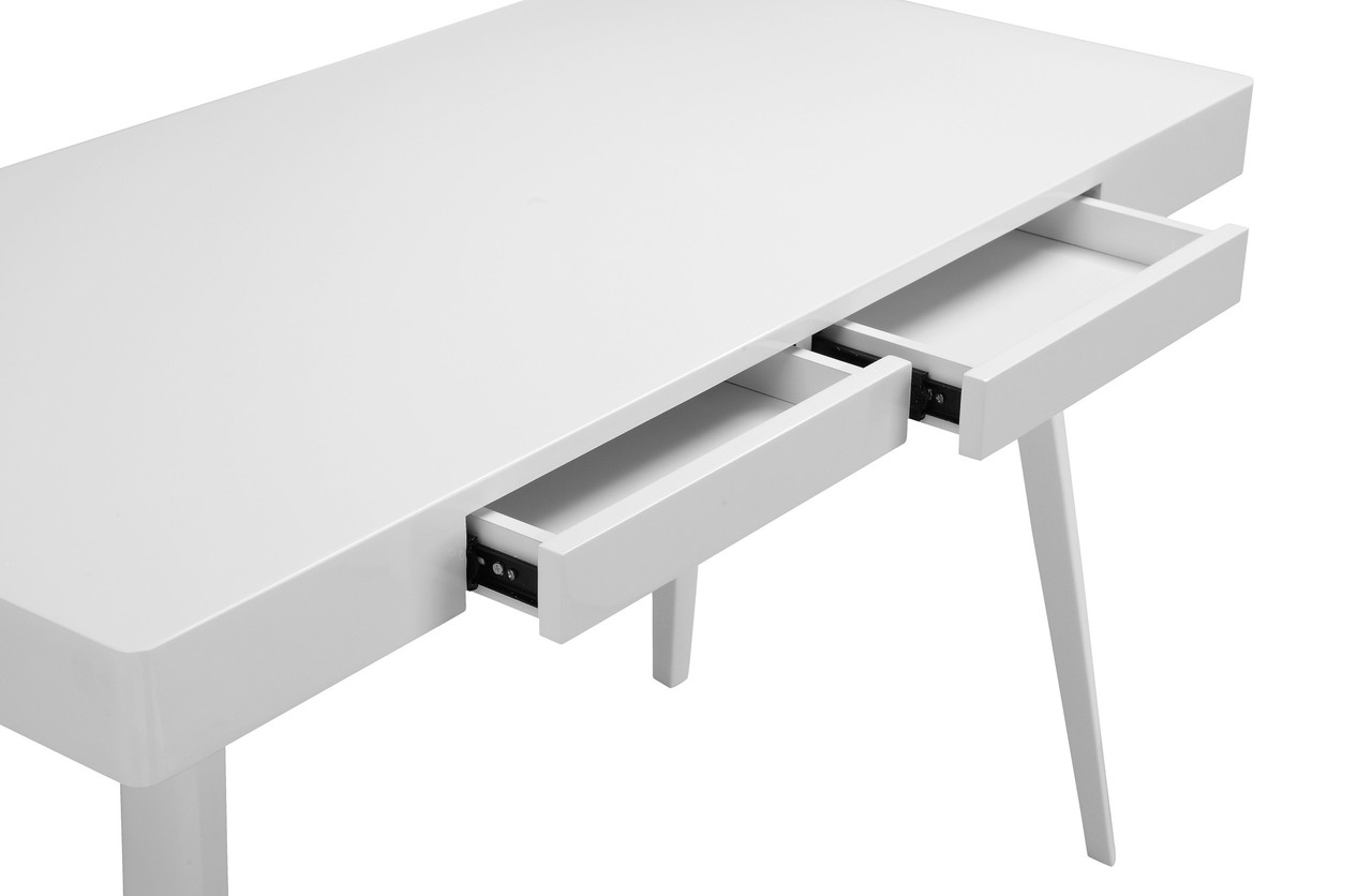 Griffin Two Drawer Modern Desk Glossy White Home And