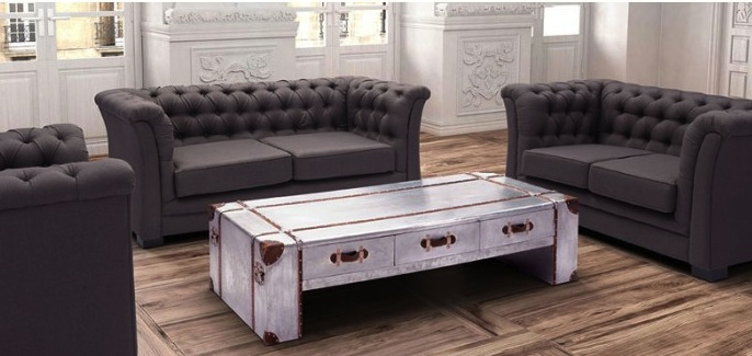 zuo kant wide aluminum coffee table - coffee tables