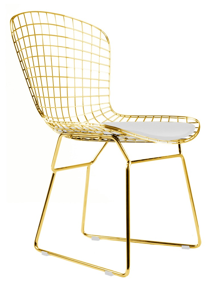Bertoia side chair in gold for Bertoia stoel
