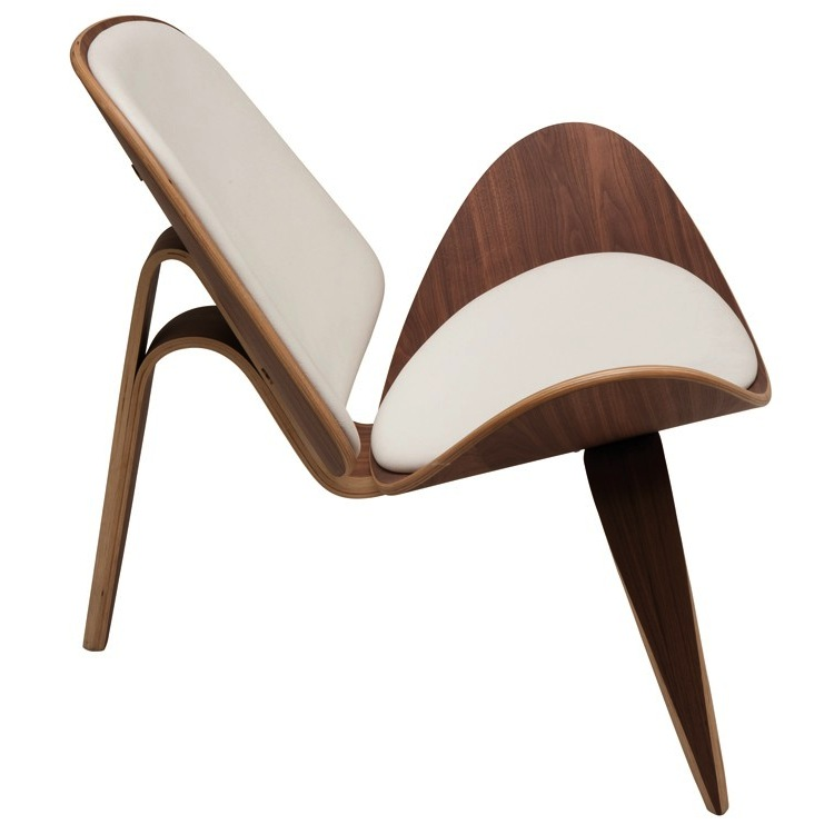 ... Artemis Lounge Chair Nuevo Walnut With White Leather. ...