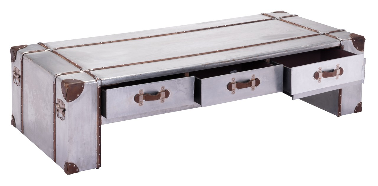 Zuo kant wide aluminum coffee table coffee tables for Coffee tables 30cm wide