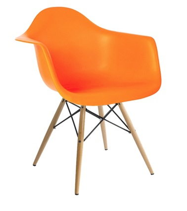 Molded Plastic Armchair With Dowel Legs In Orange Color ...