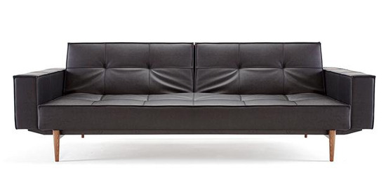 Split Back Sofa With Arms & Wood Legs - Black Leather