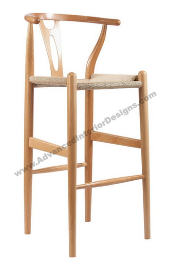 wishbone stool natural 1
