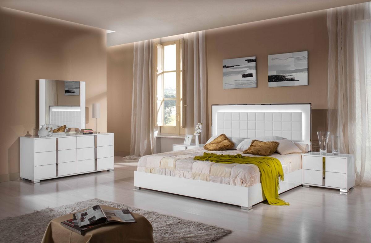 Italian 5 Pcs Bedroom Set Glossy White Or Grey Modern