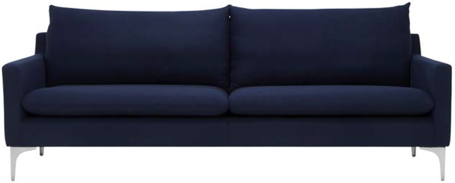 anders sofa navy blue brushed stainless steel