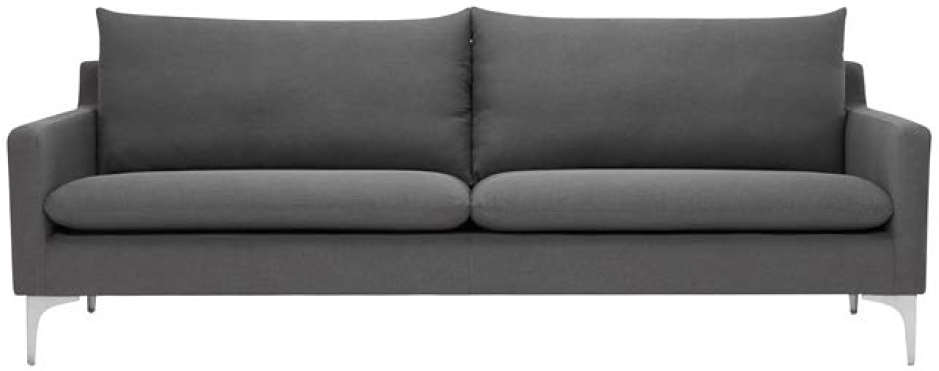 nuevo living anders sofa slate grey brushed stainless steel