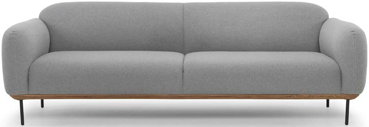 nuevo living benson three seater light grey