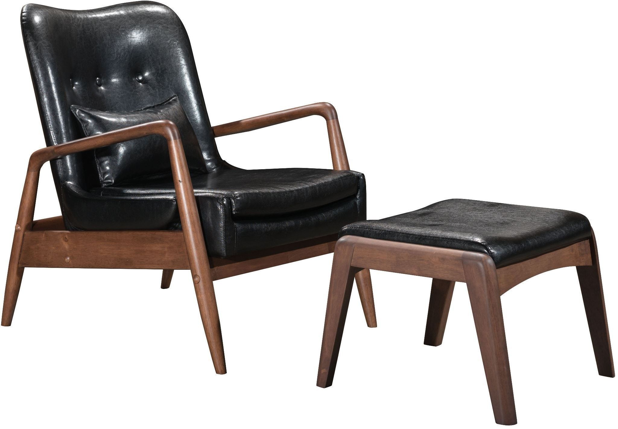 bully lounge chair ottoman black