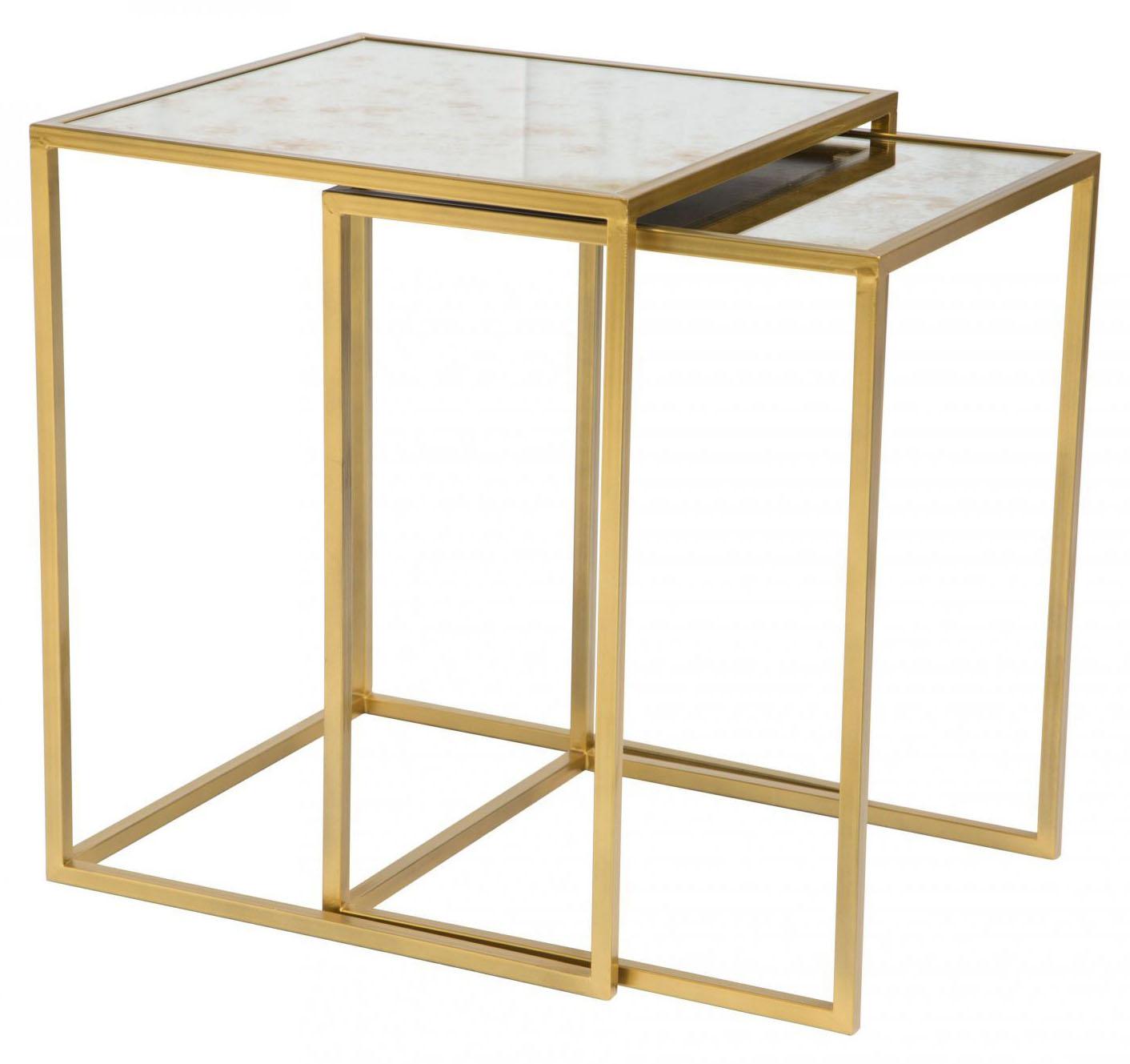 zuo modern calais nesting tables brass
