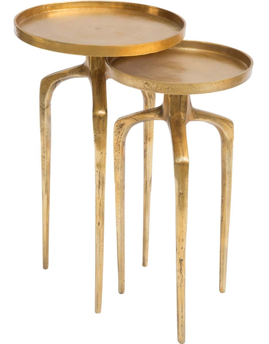 como accent table set antique gold