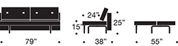 measurements recast sofa