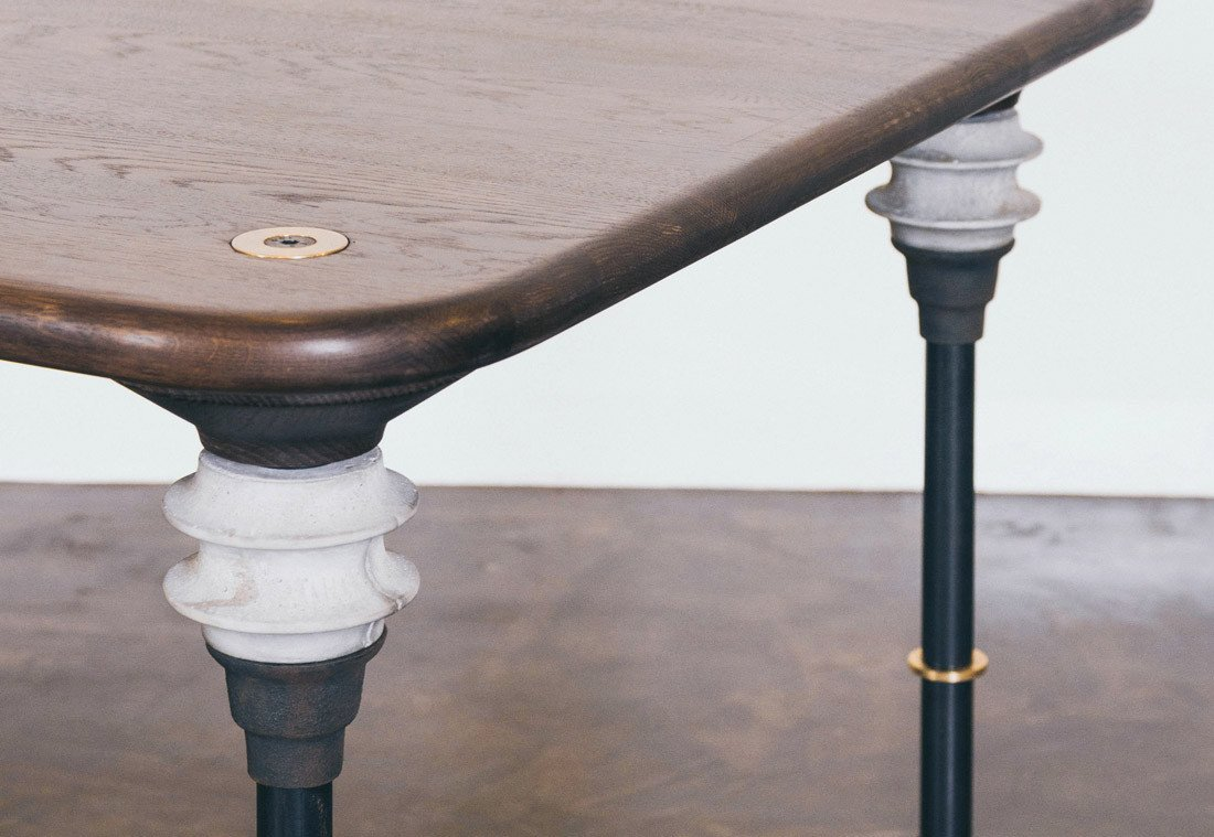 The smoked oak kimbell dining table by nuevo living