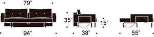 recast sofa measurements