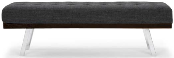 nuevo living rikard occasional bench dark grey tweed