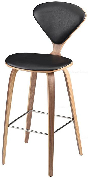 nuevo living satine black leather counter stool