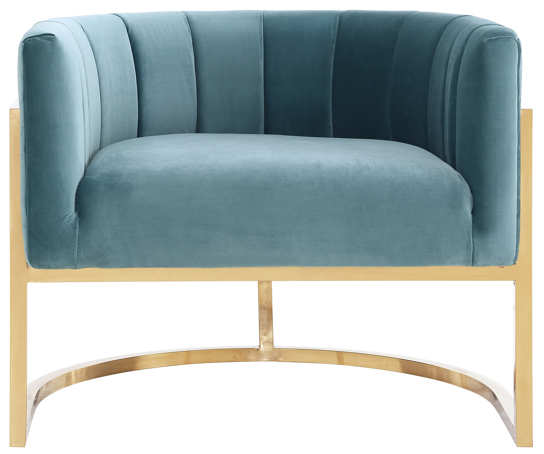 Chandler Sea Blue Chair With Gold Base