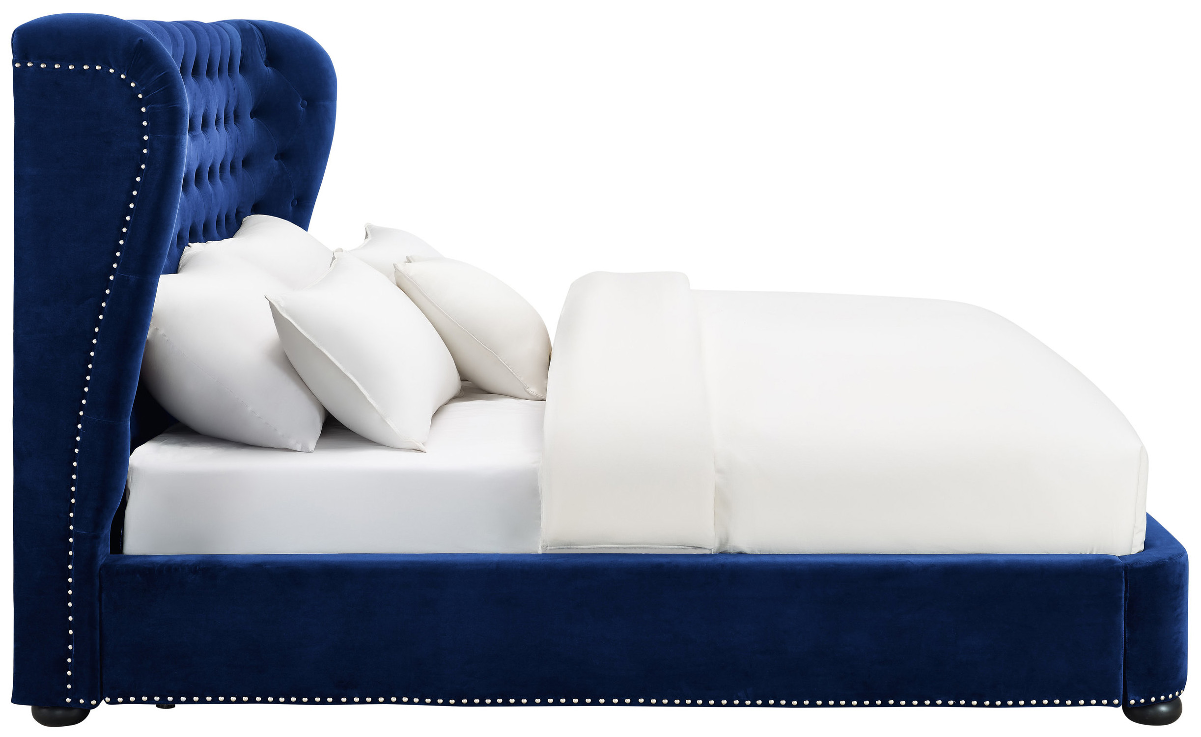 blue velvet queen bed