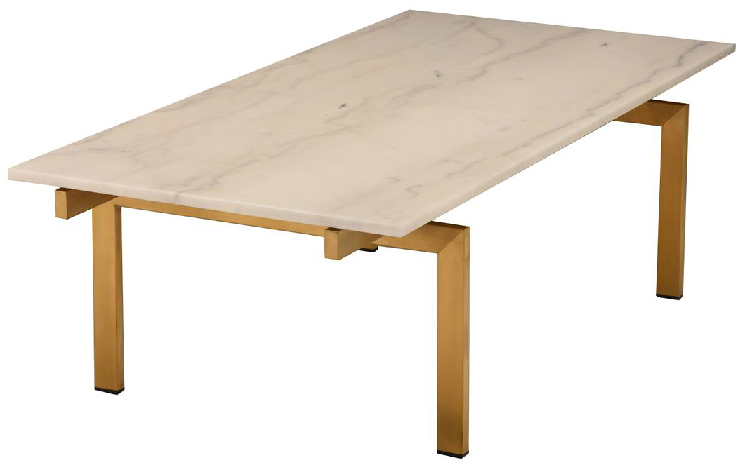 nuevo living white marble brushed gold louve coffee table