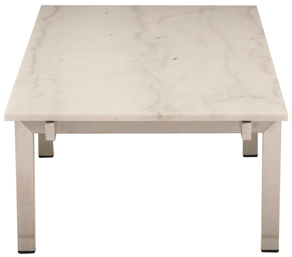 nuevo living white marble brushed stainless steel louve coffee table